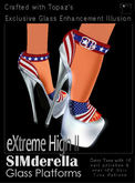 Topaz Square~Sparkly Flag Heels~ American Heels Perfect for  4th of July