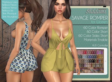 "Addams ""Savage"" Mesh Romper Dress for Maitreya, Belleza, Slink #FATPACK"