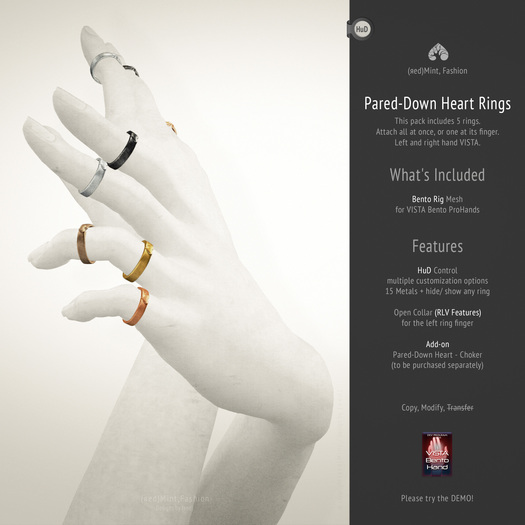 (r)M, Pared-Down Heart Rings < for VISTA Bento ProHands