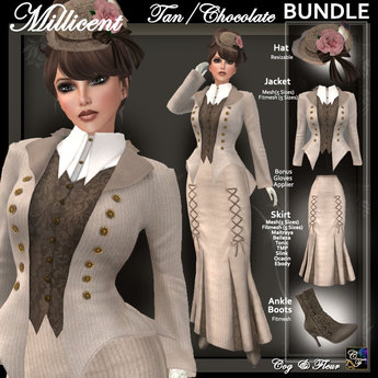 C&F Millicent Victorian Outfit BUNDLE 2 AH - Tan/Chocolate