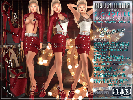 "Bella Moda: ""Signorile"" Crimson Designer Outfit: Maitreya/Classic/Physique/Hourglass/Isis/Venus/Freya+Std - FULL"