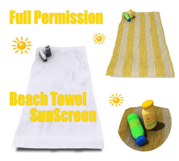 [ FULL PERM ] Beach Towel + Sunscreen