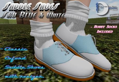 Classic Retro Saddle Shoes Sky Blue