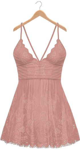 Blueberry - Ime - Lace Dress - Nude
