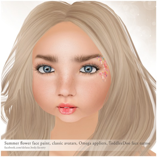 Deluxe Body Factory skins, Summer flowers face paint for children, ToddleeDoo, Omega, system tattoo