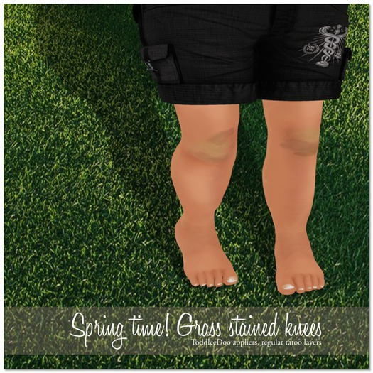 Deluxe Body Factory skins, childrens grass stained knees, Toddleedoo and system layer tattoos