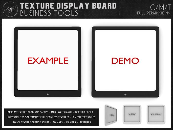 [AC] Texture Display Board - 2 Mesh Watermark Styles - 1 Prim