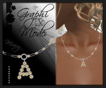 Moury - Necklace Silver Letter A / Collier Argent lettre A
