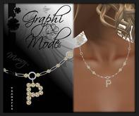 Moury - Necklace Silver Letter P / Collier Argent lettre P