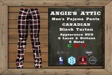 AA - Men's Canadian PJ Pants - Tartan - Black