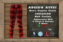AA - Men's Canadian PJ Pants - Tartan - Red