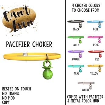 Can't Even - Pacifier Choker (White)