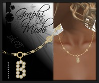 Moury - Necklace Gold Letter B / Collier Or lettre B