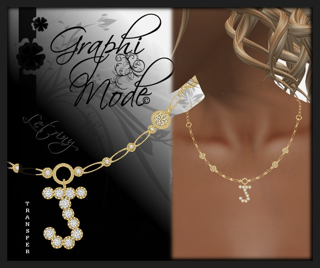 Moury - Necklace Gold Letter J / Collier Or lettre J