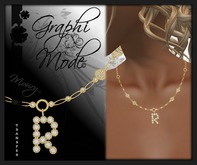 Moury - Necklace Gold Letter R / Collier Or lettre R