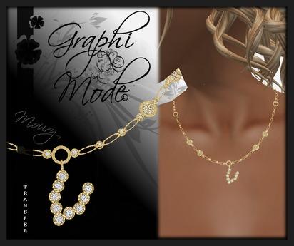 Moury - Necklace Gold Letter V / Collier Or lettre V