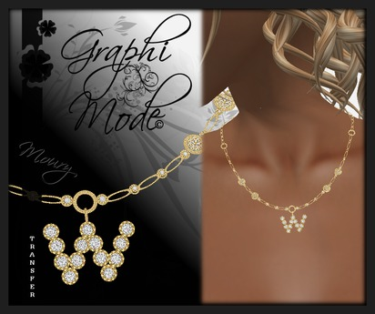 Moury - Necklace Gold Letter W / Collier Or lettre W