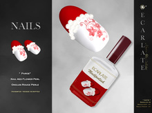 FingerNail - Nails red Flower Perl / Ongles Rouge Perle - Paroe