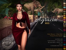 Artizana - Agracia (Red) - Fit Mesh Blouse + Wrap Skirt + Thong Applier