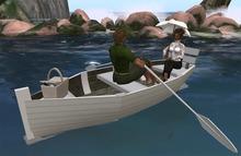 TS Berta row boat, with picnic basket