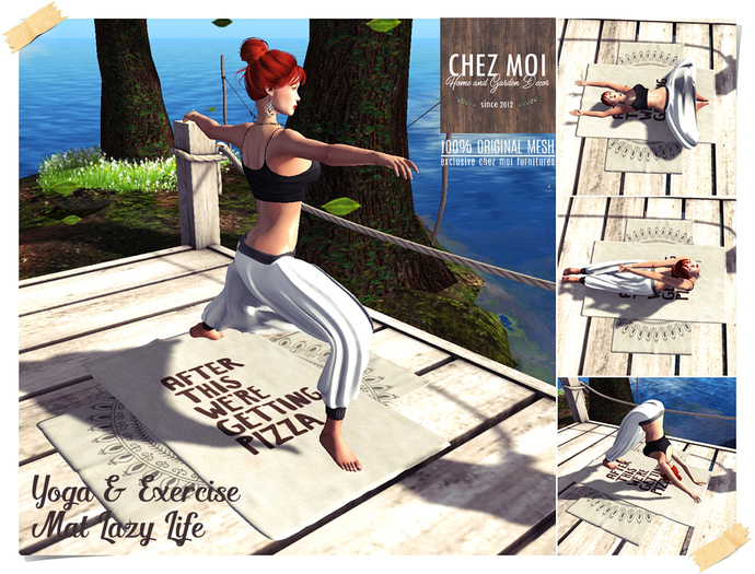 Yoga & Exercise Mat Lazy Life ♥ CHEZ MOI