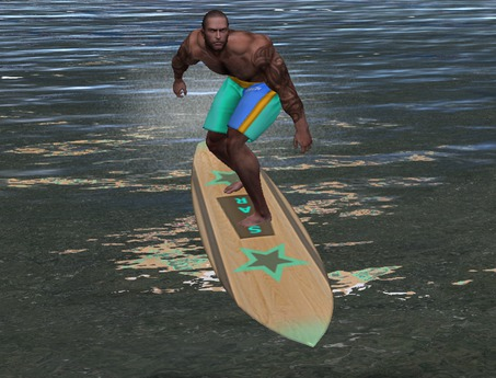 Second Life Marketplace Aesthetic Swim Shorts Beach Scripted Surfboard