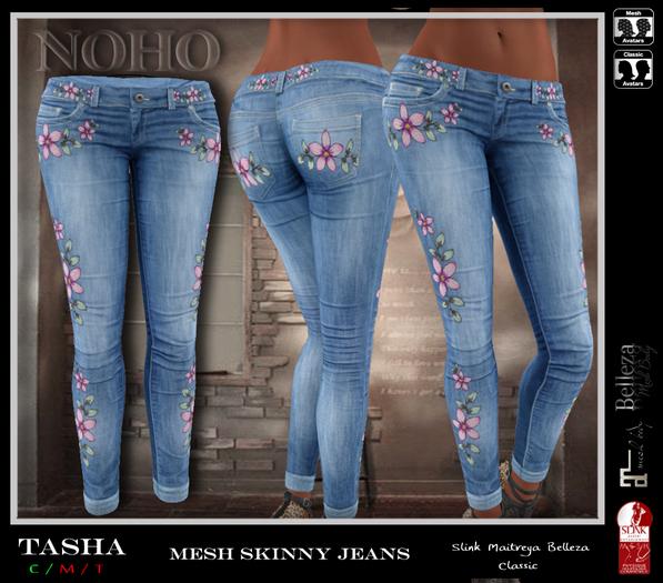 [NOHO] Tasha Skinny Jeans [fitmesh box] flowers