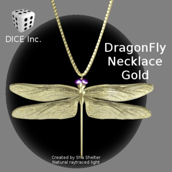 Large Gold Dragonfly Pendant Necklace on Square Link Rope Chain ~ Great Gift comes in a velvety bag request gift card in message to seller