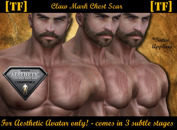 AE - CLAW MARKS CHEST SCAR [TF] - [Wear to Unpack]