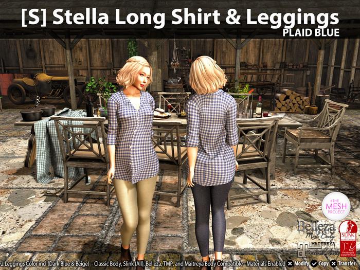 [S] Stella Long Shirt & Leggings Plaid Blue