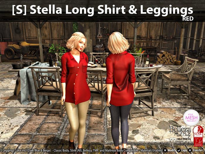 [S] Stella Long Shirt & Leggings Red