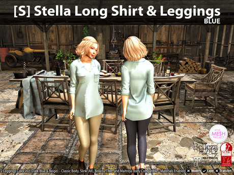 [S] Stella Long Shirt & Leggings Blue