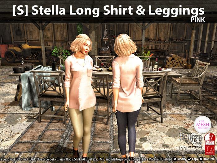 [S] Stella Long Shirt & Leggings Pink