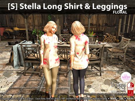 [S] Stella Long Shirt & Leggings Floral