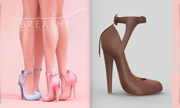 [BREATHE]-Nozomi Heels-Brown-(for Slink High Feet & Maitreya Lara & Belleza)