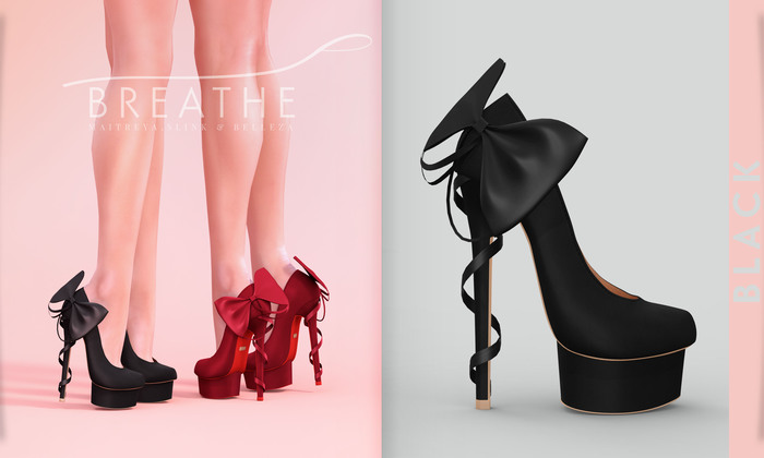 [BREATHE]-Kaori Heels-Black-(for Slink High Feet & Maitreya Lara & Belleza)