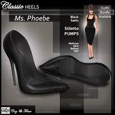 C&F Ms. Phoebe Stiletto Heels - Maitreya, Slink, Belleza, TMP - Black Satin