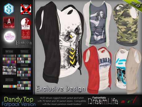 Dandy Fatpack Male Mens Top t shirt with Vest Jacket - Mesh - TMP, Adam, Slink, Signature, Belleza Jake - FashionNatic