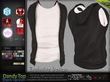 Dandy Black Male Mens Top t shirt with Vest Jacket - Mesh - TMP, Adam, Slink, Signature, Belleza Jake - FashionNatic