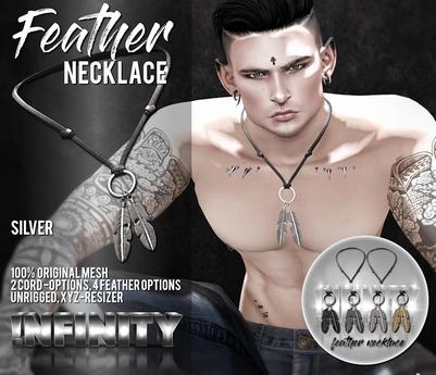 !NFINITY Feather Necklace - Silver (wear/add)