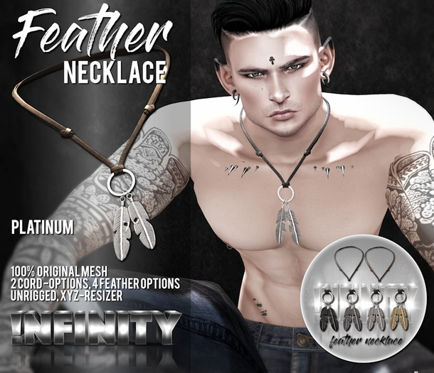 !NFINITY Feather Necklace - Platinum (wear/add)