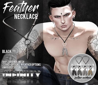!NFINITY Feather Necklace - Black (wear/add)