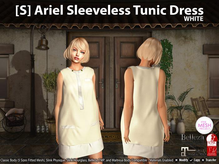 [S] Ariel Sleeveless Tunic Dress White
