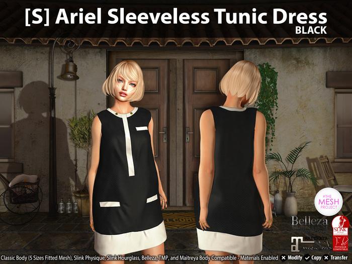 [S] Ariel Sleeveless Tunic Dress Black