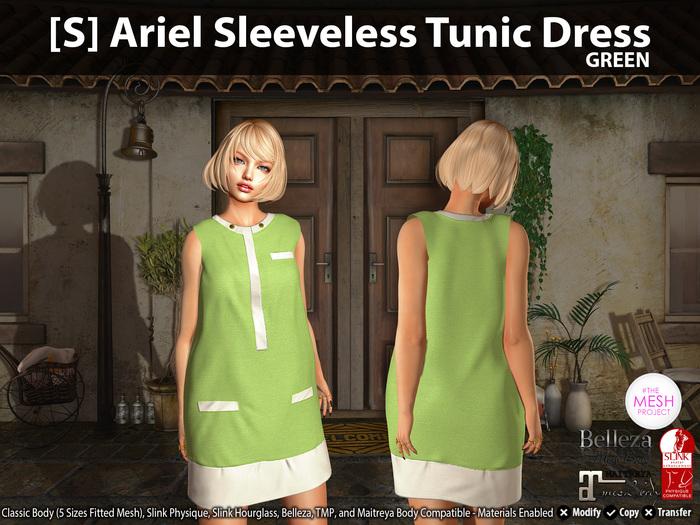 [S] Ariel Sleeveless Tunic Dress Green