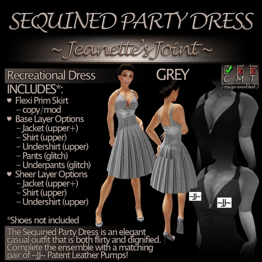 ~JJ~ Sequined Party Dress (grey)