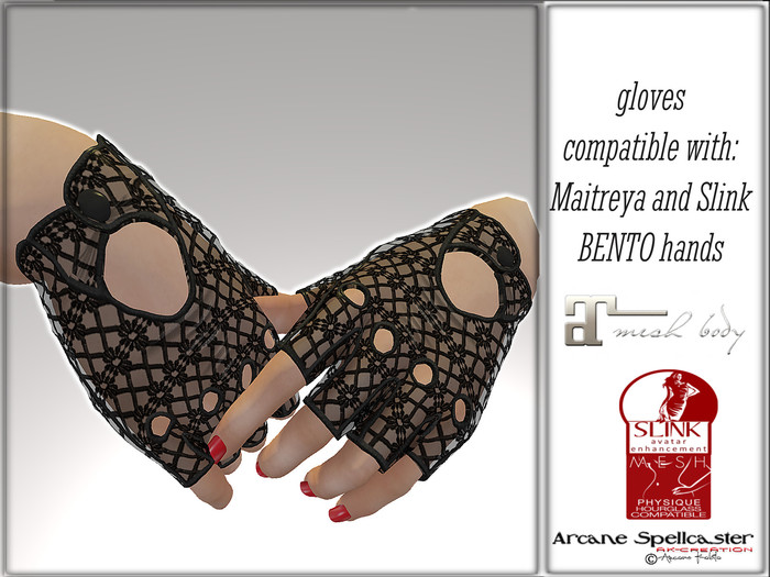 Glovers BENTO hands Lace Black *Arcane Spellcaster* Ak-Creations