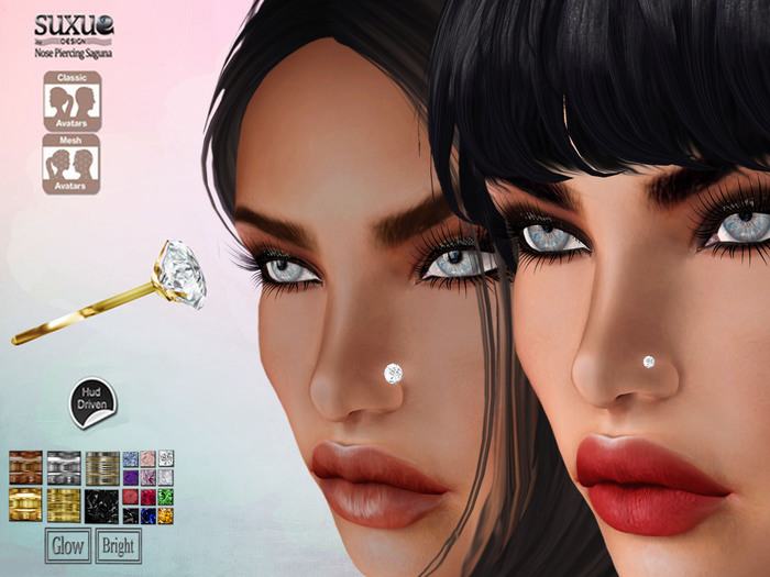 [SuXue Mesh] FATPACK Saguna Nose Piercing UnRigged Hud 12 gem Resize Right Left Full BrightGlow on off Micro Regular