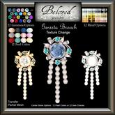 Beloved Jewelry : Genista Pearl Brooch (Texture Change) Gold, Silver, Diamond, Amethyst, Ruby