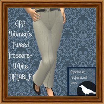 GPA Women's Trousers Tweed - White TINTABLE